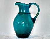 Vintage Prussian Hand-Blown Seed Glass Pitcher - Blue Green Prussian Art Glass - Circa 1940s