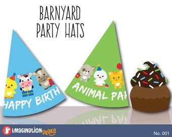 Barnyard Birthday PRINTABLE Party Hats / Party Printables / Farm Animals Decorations Birthday Party Printables / Cowboy Cowgirl / No. 001