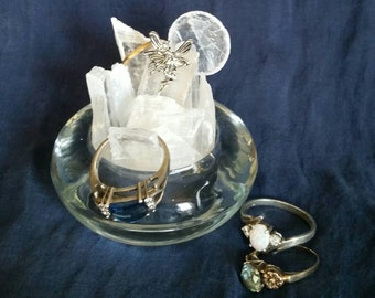Selenite Crystal Ring Holder // Fairy Crystal // Charging Slab // Raw Selenite Chips // Metaphysical Crystal Home Decor // Cleansing Crystal
