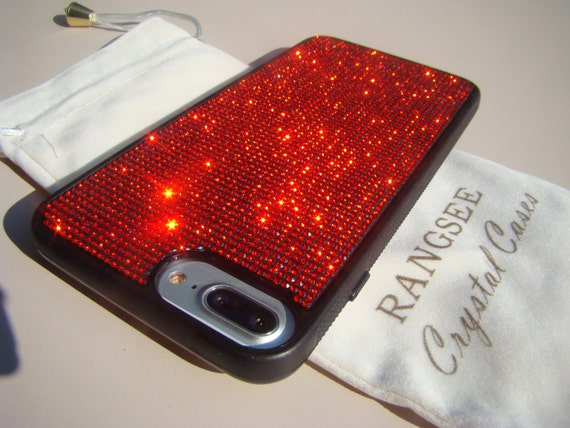 iPhone 7 Plus Case Red Siam Diamond Rhinestone Crystals on Black Rubber Case. Velvet/Silk Pouch Bag Included, Genuine Rangsee Crystal Cases.