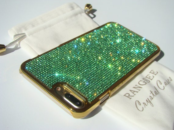 iPhone 8 Plus / iPhone 7 Plus Case Green Peridot Rhinestone Crystals on Gold Chrome Case. Velvet Pouch Included,