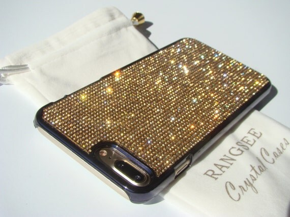 iPhone 7 Plus Case Gold Topaz Diamond Rhinestone Crystals on Black Chrome Case. Velvet Pouch Included, Genuine Rangsee Crystal Cases