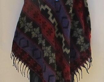 Poncho Hoodie Tassels Fringe Boho Bohemian 60s Designer Hippie HandmadeHimalayan Handloomed Yak Wool Blend Shawl Multicolored 1 Size 9391