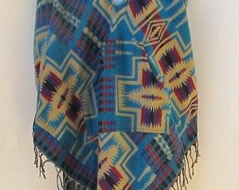 Poncho Pockets Tassels Fringe Boho Bohemian 60s Designer Hippie HandmadeHimalayan Handloomed Yak Wool Blend Shawl Multicolored 1 Size 9539