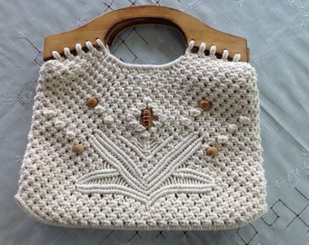 1960s Vintage Macrame Bag With Wooden Beads And Handles