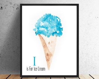 I is for Ice Cream Giclee Print Alphabet Kids room playroom Classroom Art