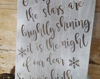 Christmas sign, O Holy Night sign, Christmas decorations, christmas decor, holy night, wood sign, farmhouse christmas sign, farmhouse sign