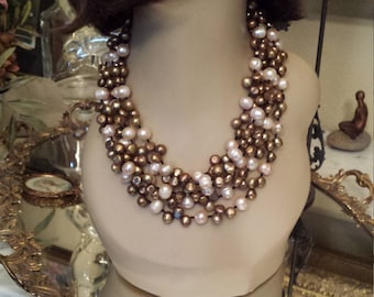 Freshwater gold and cream pearl five strand necklace