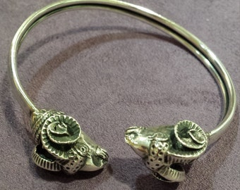 Sterling silver vintage ram heads bracelet