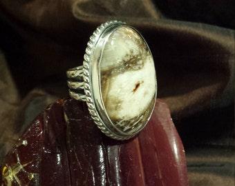 Sterling silver large jasper stone artist made ring