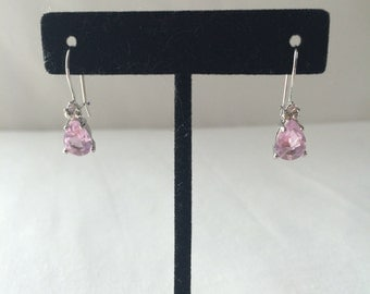 Pink stone earrings, Pink turmaline earrings