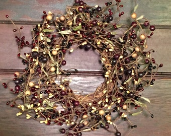 FREE SHIPPING!! - Grapevine Wreath -Pip Berry Candle Ring--Mini Wreath--Primitive Decor--Pip Berry Centerpiece