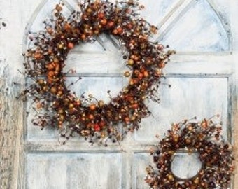 Pip Berry Wreath-- Berry Wreath with Mixed Berries--Primitive Wreath-Large Candle Ring-Centerpiece-Free Shipping