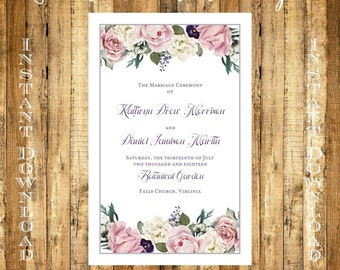 Vintage Floarl Wedding Program Instant Download Folded NO CUT DIY Template 8.5 x 11 Editable & Printable Microsoft File