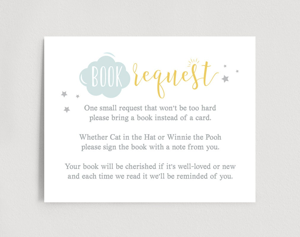 book request card baby shower book request by blisspaperboutique