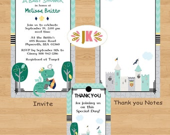 Spark the Dragon inspired Invitations - Baby Shower or Birthday