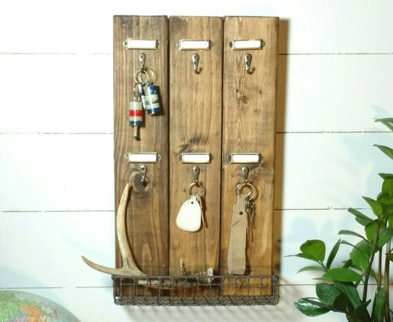 Items similar to vintage hotel style key rack with metal label holders on etsy - Vintage hotel key rack ...