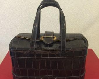 Vintage 1950s Doctor's Bag Style Handbag - Faux Alligator Skin Purse  - Vegan