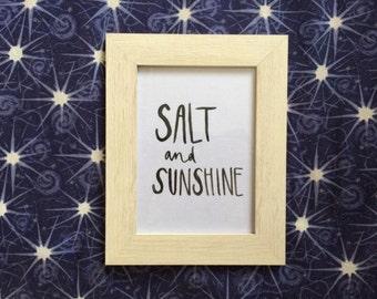 SALT + SUNSHINE framed watercolour print by jes john