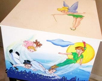 Hand painted wooden storage chest , Peter Pan themed,baby furniture,nursery