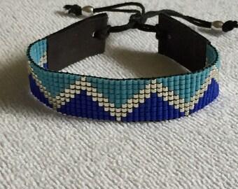 Dark, light blue with silver miyuki delica bracelet!