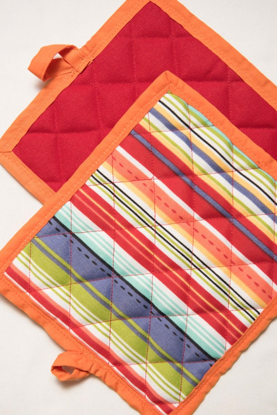 Handmade Indoor / Outdoor Fiesta Stripe Potholders