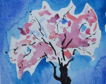Pink cherry blossom tree painting. Cherry tree in bloom watercolor. Flowering tree watercolor. Springtime. Signed, mat 10x10in. Not a print!