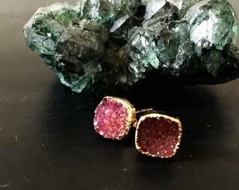 8mm square hot pink agate druzy earrings