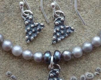 Freshwater Pearl Bracelet, Heart Charm, Heart Earrings, Silver Bracelet, Pearl Bracelet, Bridal Pearls