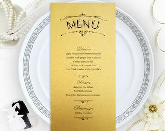 Luxury wedding menu cards printed on gold metallic cardstock | Dinner menus | Gold menu cards | Printed menu cards