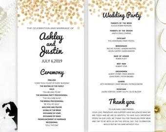 Glitter Wedding Programs Printed On Shimmer Card Stock