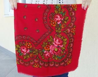 Floral scarfRussian scarf Red shawl Ukrainian shawl Red scarf Vintage shawl Wool ShawlBabushka scarfShawls Scarves Soviet vintage USSR