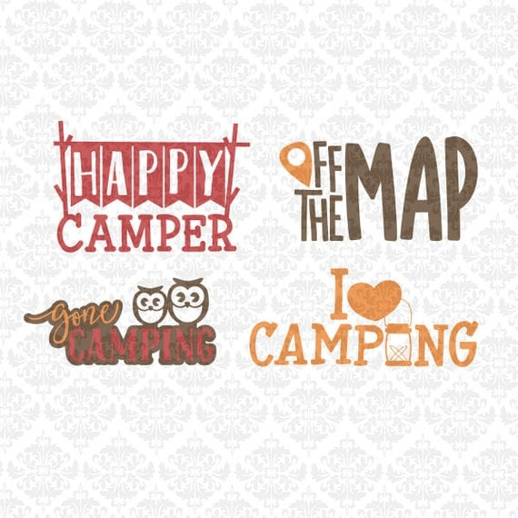 Happy Camper I Love Camping Off Map Gone SVG DXF Ai Eps Studio Ai Eps Png Vector Instant Download Commercial Cutting File Cricut Silhouette