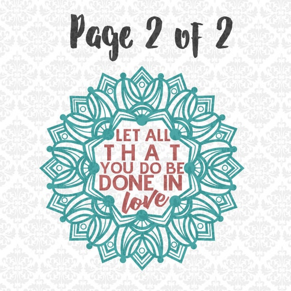 Let All That you do be done in Love Mandala Zentangle SVG DXF Ai Eps PNG scalable vector instant download commercial use cricut silhouette