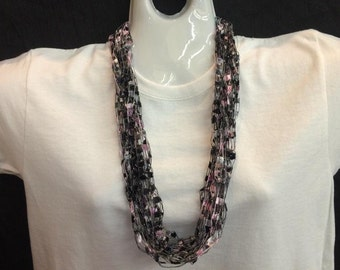 Black and pink crocheted ribbon necklace #88
