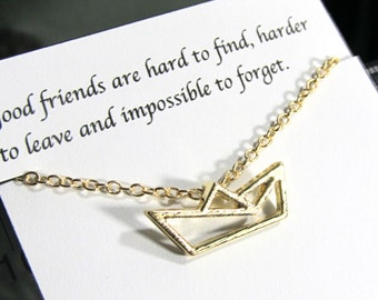 Friendship Necklace, Best Friend Necklace |A5| Origami Gold Boat Necklace, Birthday Gift, Best Friend Gift, Dainty necklace for friends
