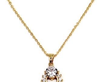 Mini crystal delicate clavicle gold necklace