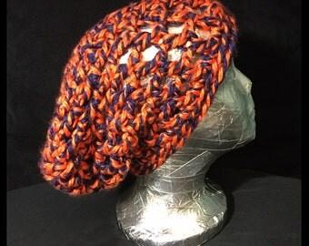 Mesh Slouchy Beanie - Orange & Blue (Medium)
