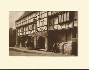 vintage 1930s bookplate sepia print of the george inn norton st philip somerset.