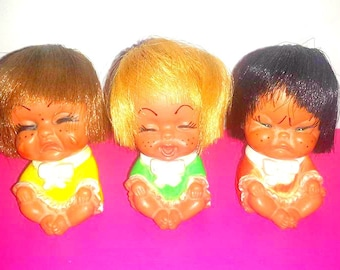 Vintage Rubber Crying Dolls,Set of 3,Squishy Face Rubber Doll,Collectible Rubber Doll,Korea,Freckle Face Doll,Kitschy,Creepy Cute, 1960s