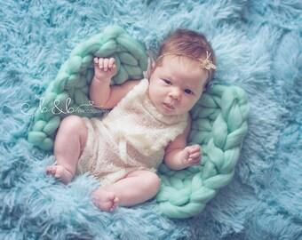 Cute newborn ivory romper