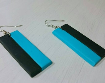 Double color rectangle earrings