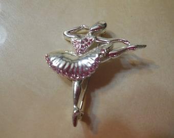 Napier Ballerina Pink Rhinestone Brooch