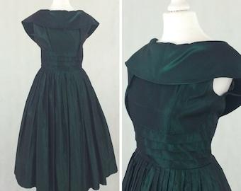 1950s Green Taffeta Evening Dress