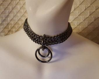 Black BDSM chain collar, Black chain choker, Submissive collar, Kitten play collar,  Pet play, Kitty collar, Goth Collar, punk, sex toys