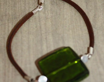 Brown leather green square bracelet