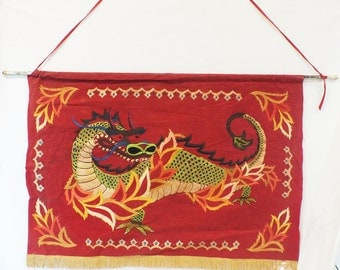 "Oriental had painted banner on fabric 40"" x 27"""