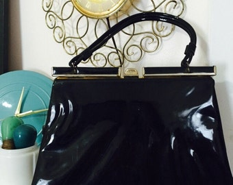 1960s Black Patent Leather Purse