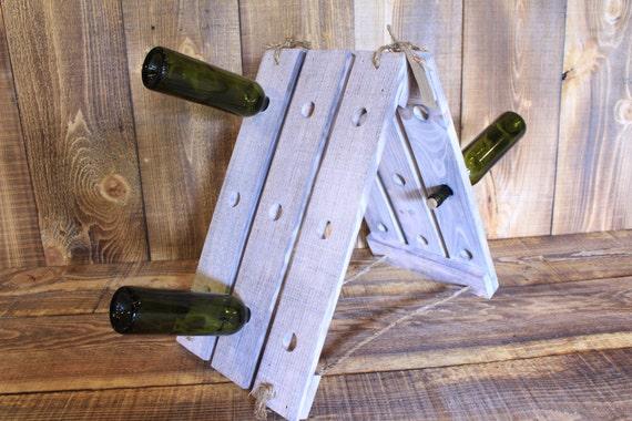 White Washed Handmade Free-Standing Rustic Wine Rack --- Flintface Woodshop