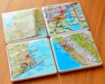 Map Coasters Map Coordinates Custom Map Coasters Personalized Map Graduation Gift Custom Coasters Tile Coasters Gift For Women Gift For Men